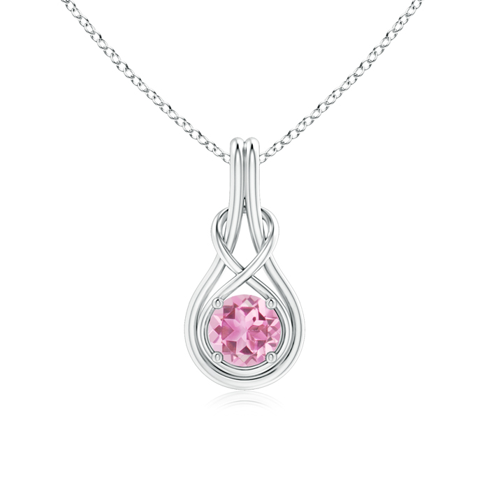 October Birthstone Pendant Necklaces Round Pink Tourmaline Infinity Knot Necklace in 4-Prong Setting in 14K White Gold... by Angara.com