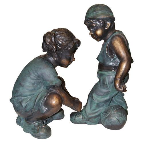 Alpine Girl Tying Boy's Shoe Statue by Alpine