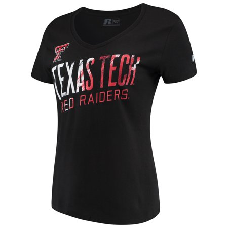 Women's Russell Black Texas Tech Red Raiders Tunic Cap Sleeve V-Neck T-Shirt - Texas Tech 2017 Halloween