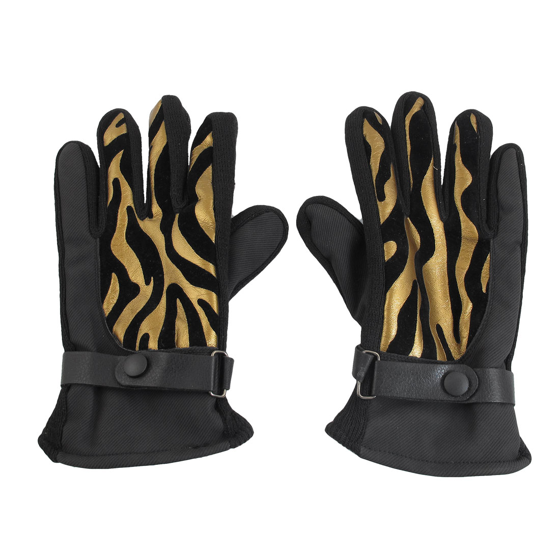 Unique Bargains Unique Bargains Man Winter Nylon Fleece Climbing Golden Tone Black Full Finger Gloves by