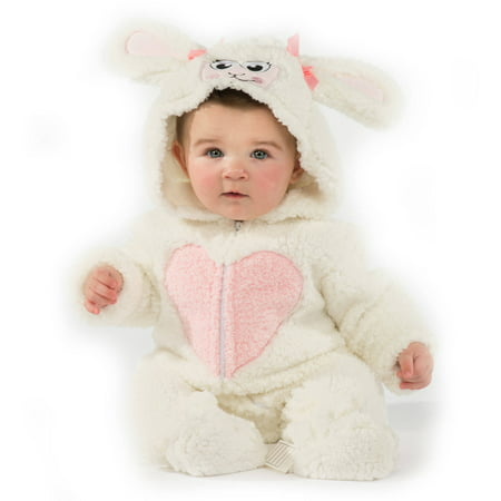 Infant Lamb Costume (Infant Girls Plush White Little Lamb Costume Baby Sheep Halloween)