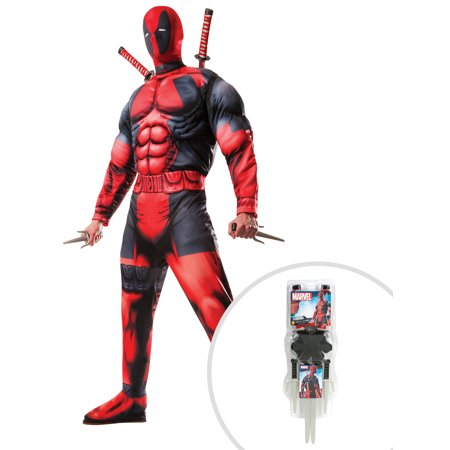 Adult Deluxe Deadpool Muscle Chest Costume and 5 Piece Deadpool Weapon Set