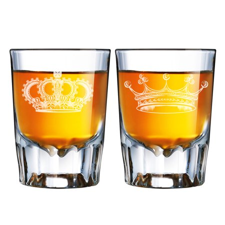 Cheap Engraved Shot Glasses (King Crown and Queen Tiara Engraved Barcraft Fluted Shot Glass)