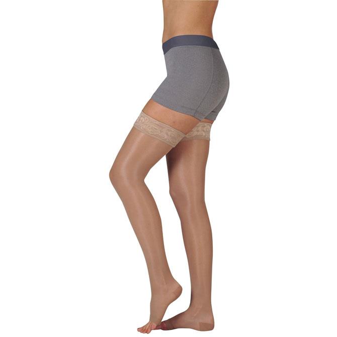 Juzo 2101 Naturally Sheer Open Toe Thigh Highs w/Lace Band - 20-30 mmHg  Short JUZO2101AGSB-P