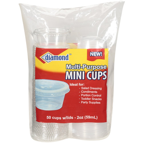 Diamond Multi-Purpose Mini Cups With Lids, 2 oz, 50ct