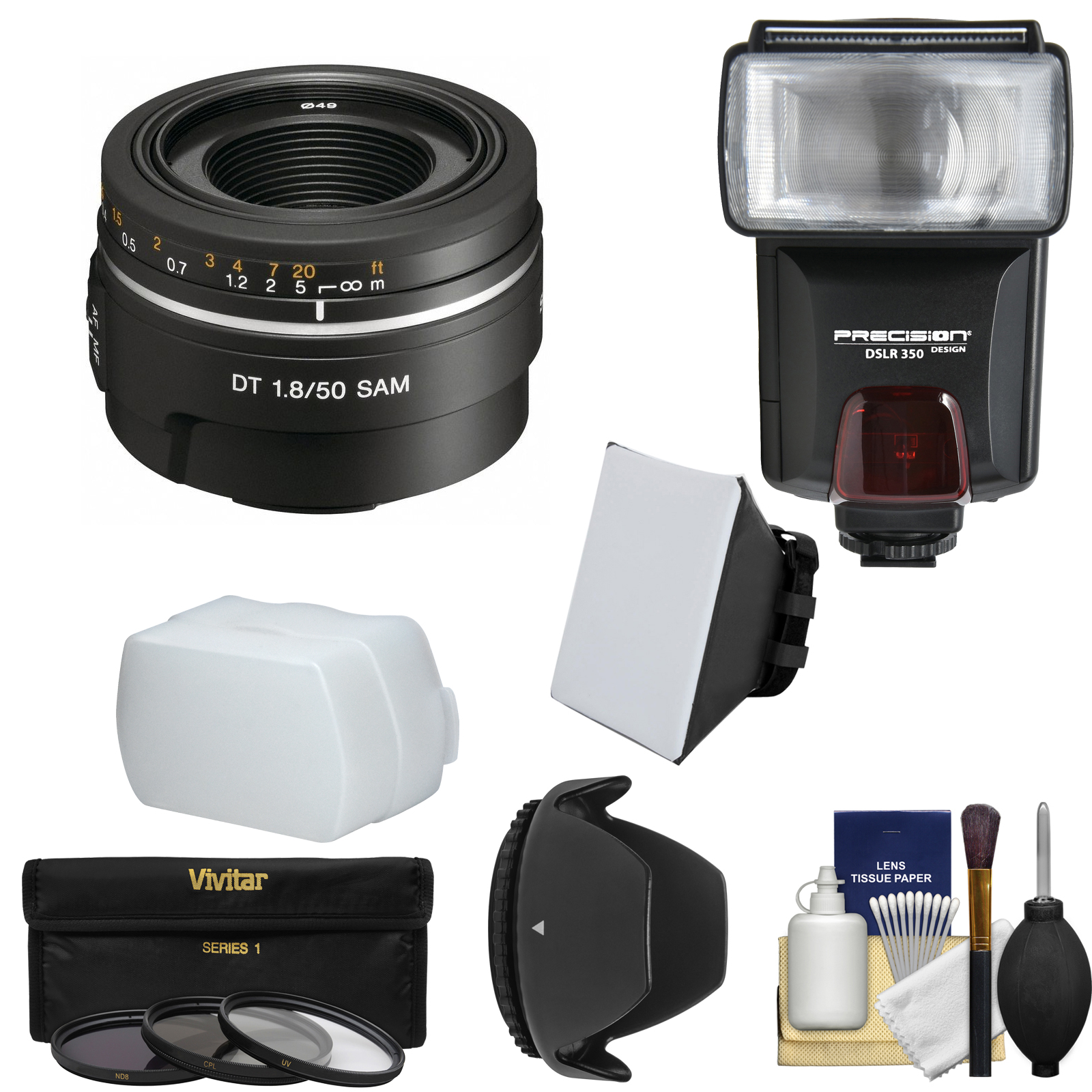Sony Alpha A-Mount 50mm f/1.8 DT SAM Lens with Flash + 3 Filters + Hood + Diffusers + Kit