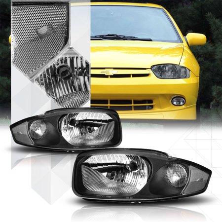 Black Housing Headlight Clear Turn Signal Reflector for 03-05 Chevy Cavalier 04