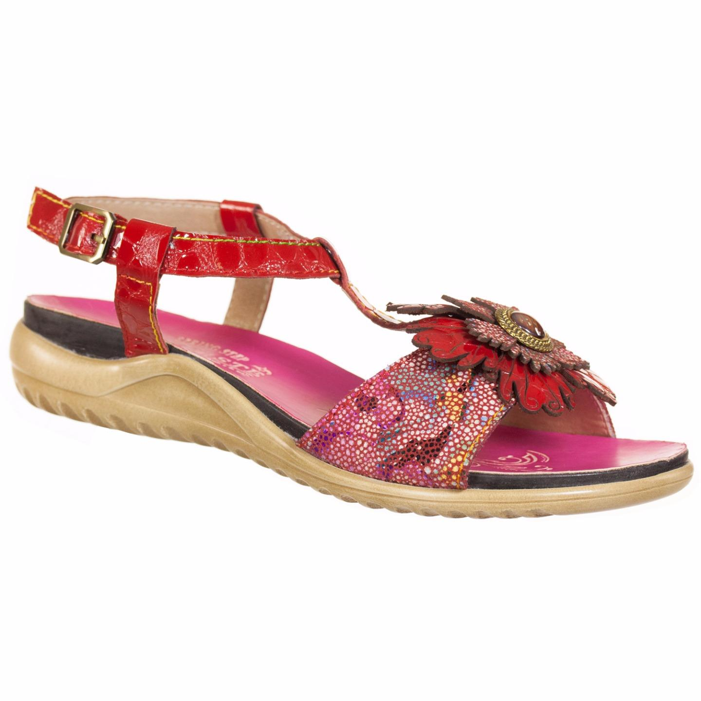 Burlesque L'Artiste Collection By Spring Step Womens Sandal Red Multi EU 37 US 7 by Spring Step