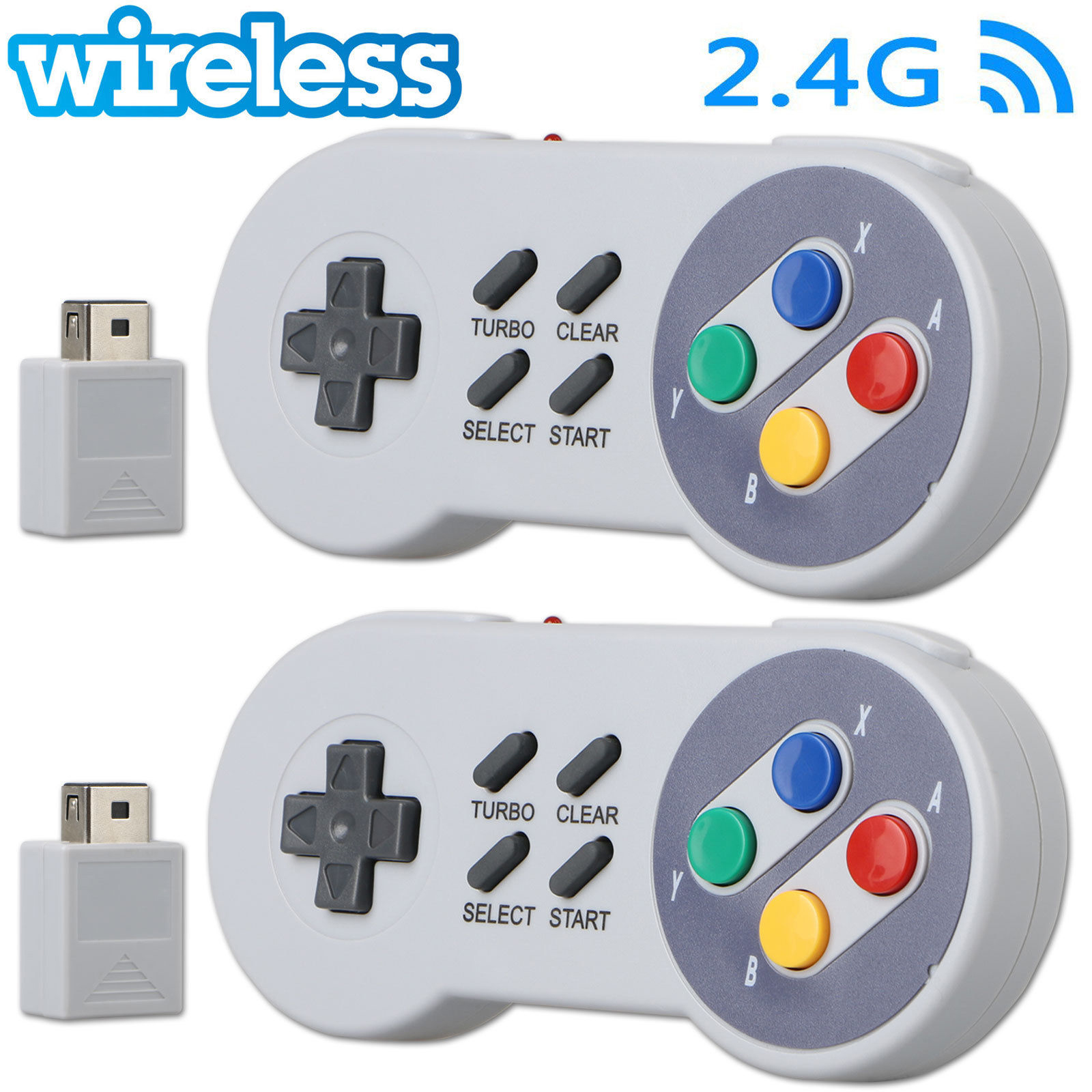 2-pack Wireless Gamepad Controller for Super Nintendo SNES Classic Mini Edition Console