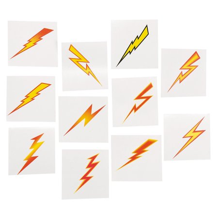 Lightning Bolt Tattoos (72 Pack) Easy to Apply and Remove. Non-toxic., 72 ~ Lightning Bolt Temporary Tattoos ~ approx. 1.5