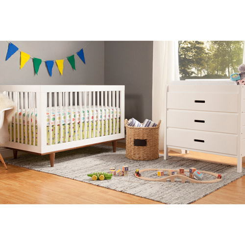 Baby Mod Marley 3 In 1 Convertible Crib White And Walnut   Walmart.com