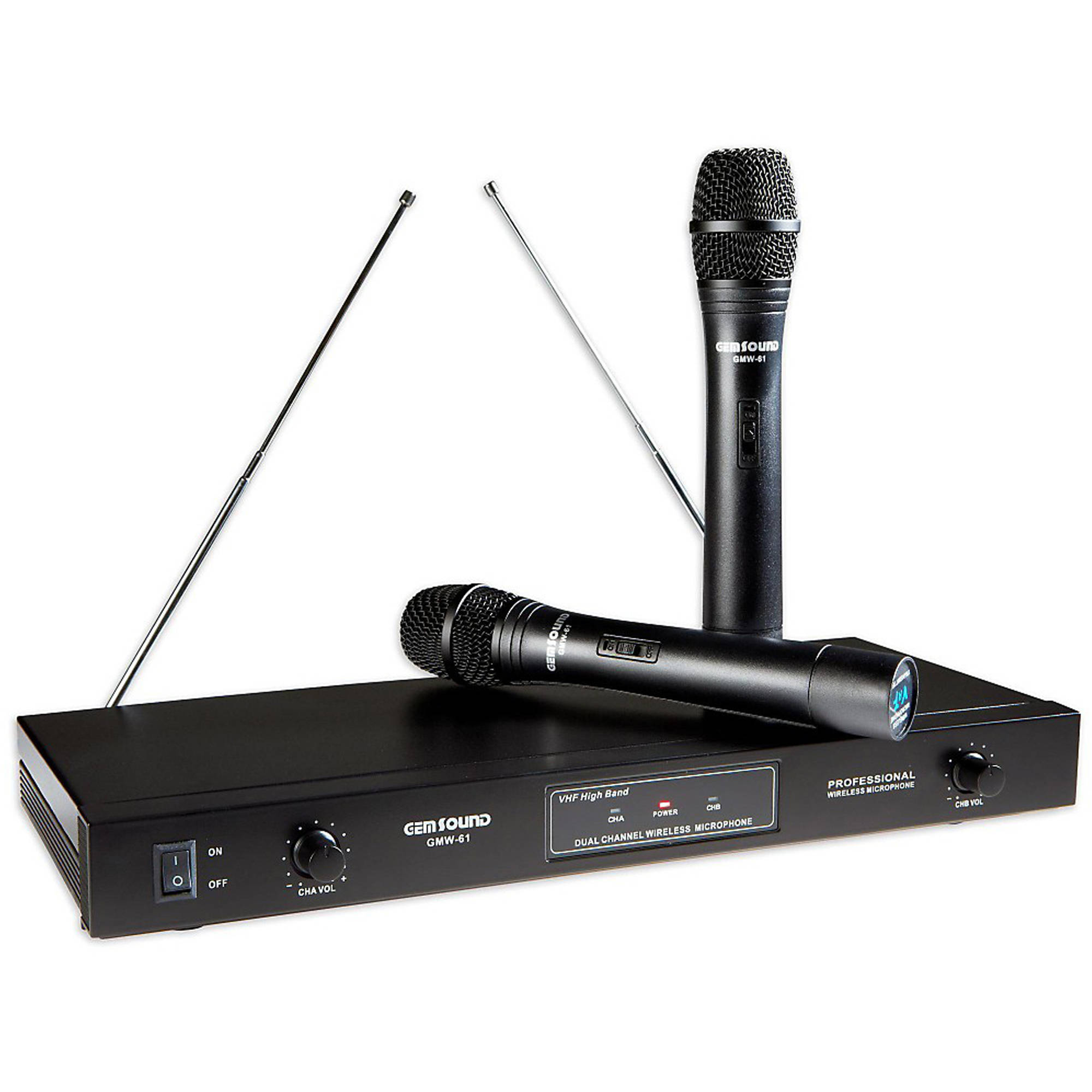 Gem Sound Dual Handheld FM Wireless Microphones, Channels G and H