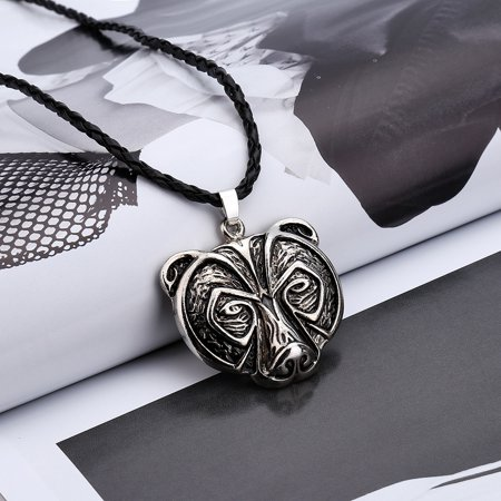 Outtop Bear Head Necklace Legend Amulet Viking Norse Pendant Talisman Jewelry