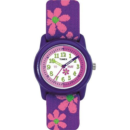 Timex Kids Purple Analog Watch, Flowers Elastic Fabric Strap