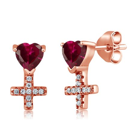 1 42 Ct Heart Shape Red Created Ruby 18K Rose Gold Plated Silver Cross Earrings