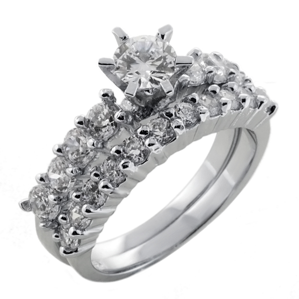 3.10 Ct Round Cubic Zirconia CZ with Accent Stones Silver Engagement Ring Set