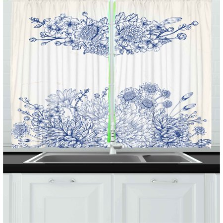 Blue Curtains 2 Panels Set, Artistic Floral Bouquet Corsage Carnations Chamomiles Bridal Wedding Anniversary Theme, Window Drapes for Living Room Bedroom, 55W X 39L Inches, Blue White, by Ambesonne ()