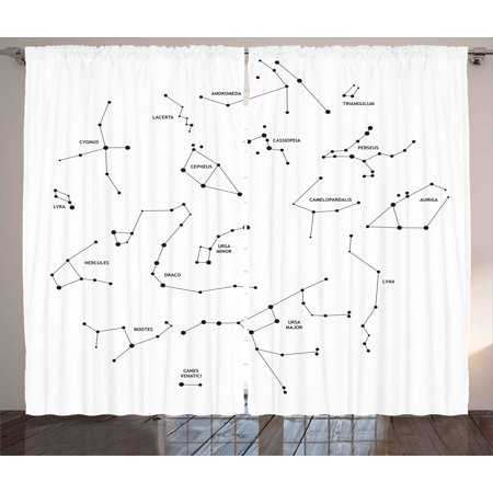 Constellation Curtains 2 Panels Set Astronomic Theme Group Of Stars
