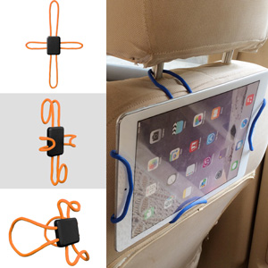 Car Mount, Universal Cross-Shaped Flexible Car Mount Tablet Holder with Expandable Stand - Orange