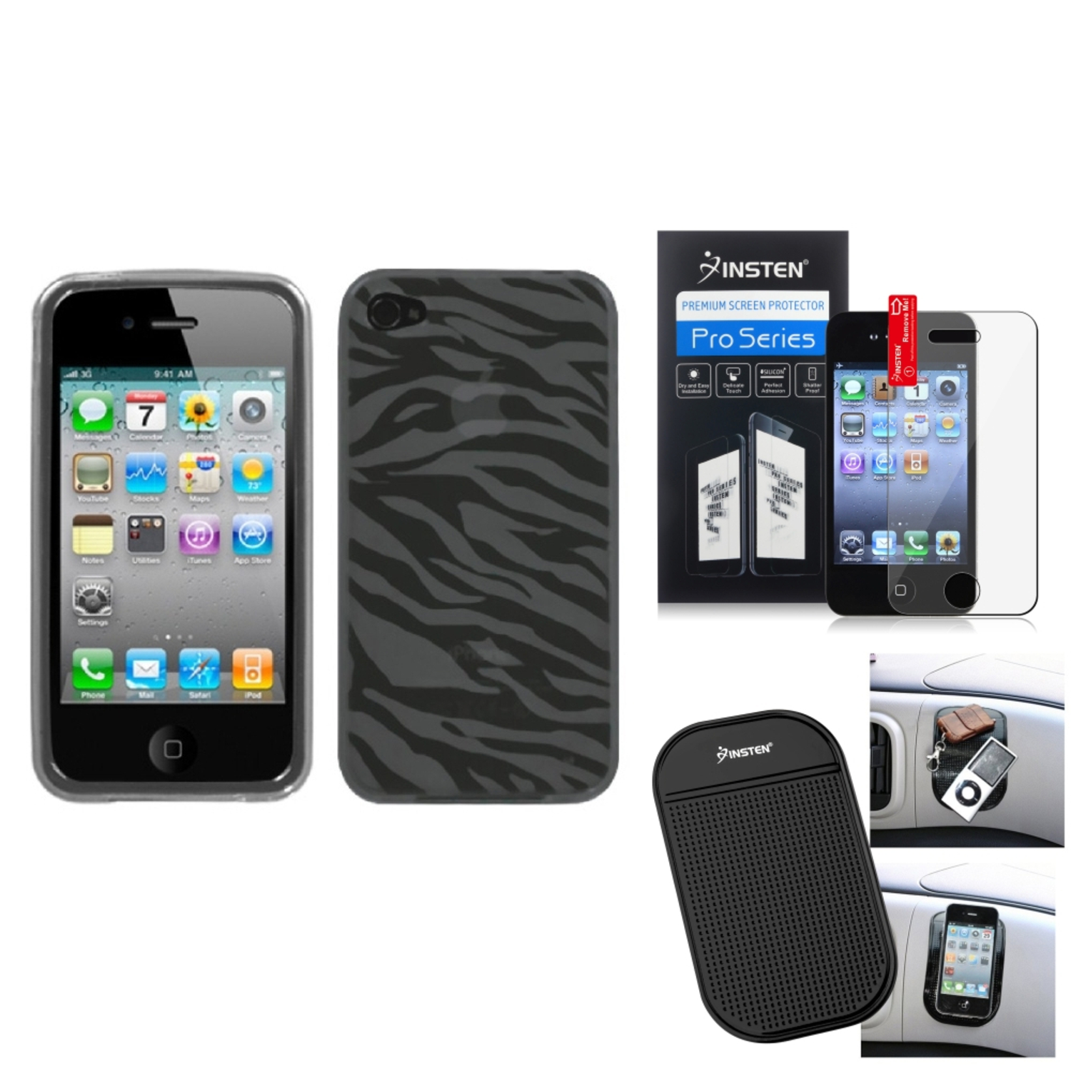 Insten Film+Mat+Smoke Zebra Skin Candy Case Cover For APPLE iPhone 4S/4