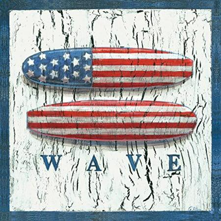 Patriotic Surf Boards Geoff Allen/ Ruth Levison 12x12 AmeriFlag Art Print Wall D?cor Decorative -
