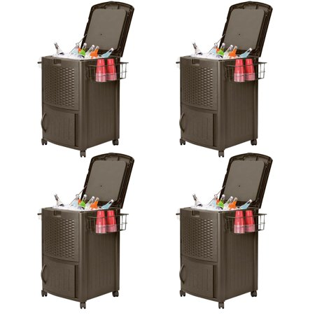 Suncast 77 Quart Resin Wicker Patio Cooler with Cabinet & Basket, Java (4 Pack) ()
