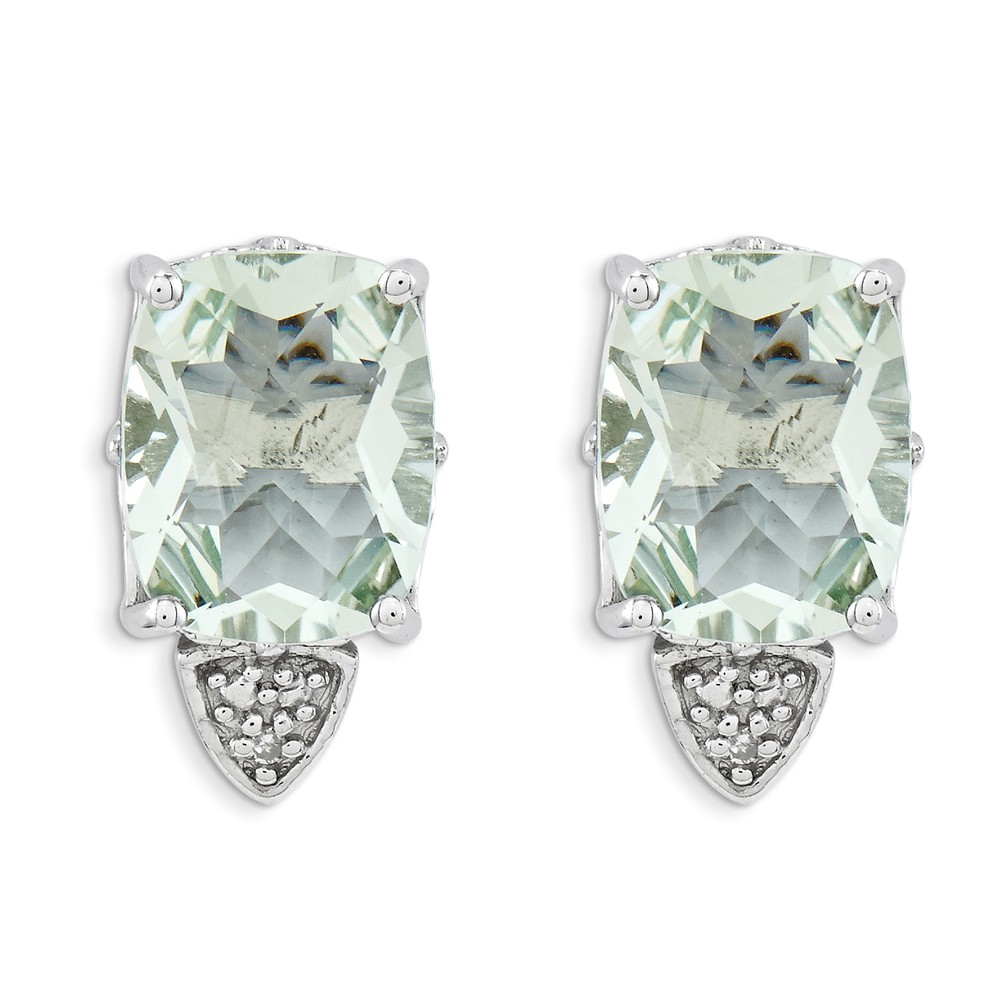 Sterling Silver Green Quartz and Diamond Earrings. Gem Wt- 5.09ct (0.5IN x 0.3IN )