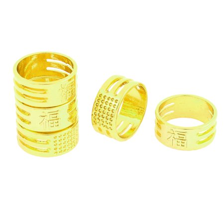 Tailors Chinese Character Pattern Sewing Thimble Ring Finger Protector 5 Pcs - image 1 of 1