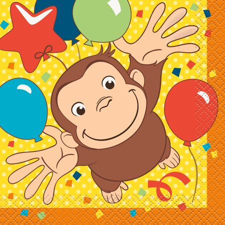Curious George Party Supplies (Curious George Beverage Napkins (16)