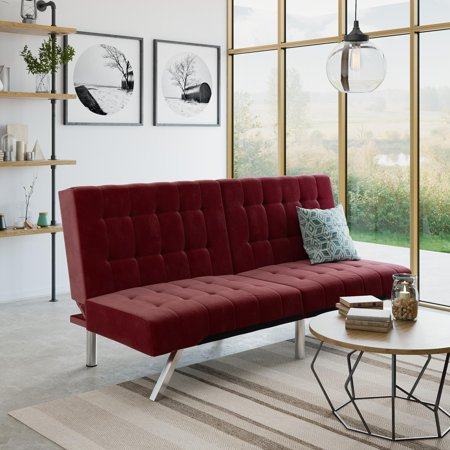 RealRooms Erika Tufted Modern Convertible Futon Couch, Multiple Colors
