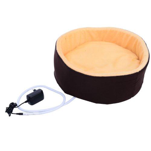 "pawhut 16"" indoor electric heated round dog bed - walmart"