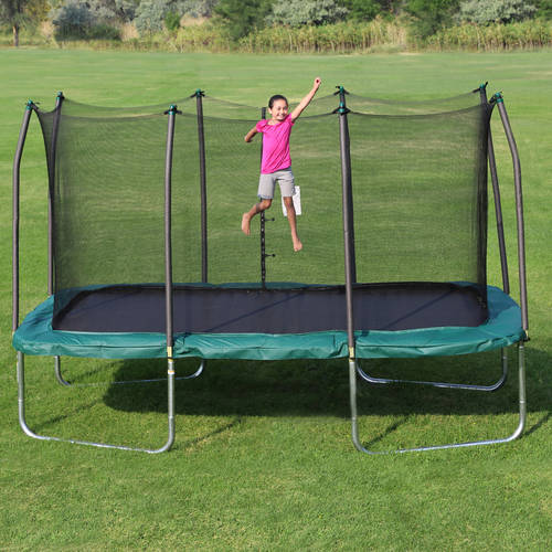 Skywalker Trampolines 14' x 8' Rectangle Trampoline and Enclosure - Green
