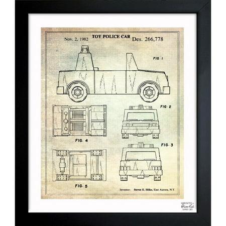 Oliver Gal \'Toy Police Car 1982\' Framed Blueprint Art - Walmart.com