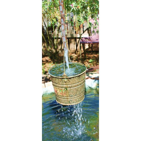 (Peel-n-Stick Poster of Outdoor Art Bucket Wishing Well Landscape Garden Poster 24x16 Adhesive Sticker Poster Print)