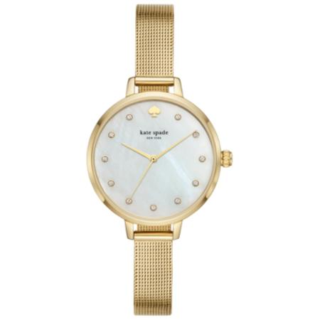 Kate Spade KSW1491 Metro Gold-Tone Stainless Steel Mesh Bracelet Watch 34mm