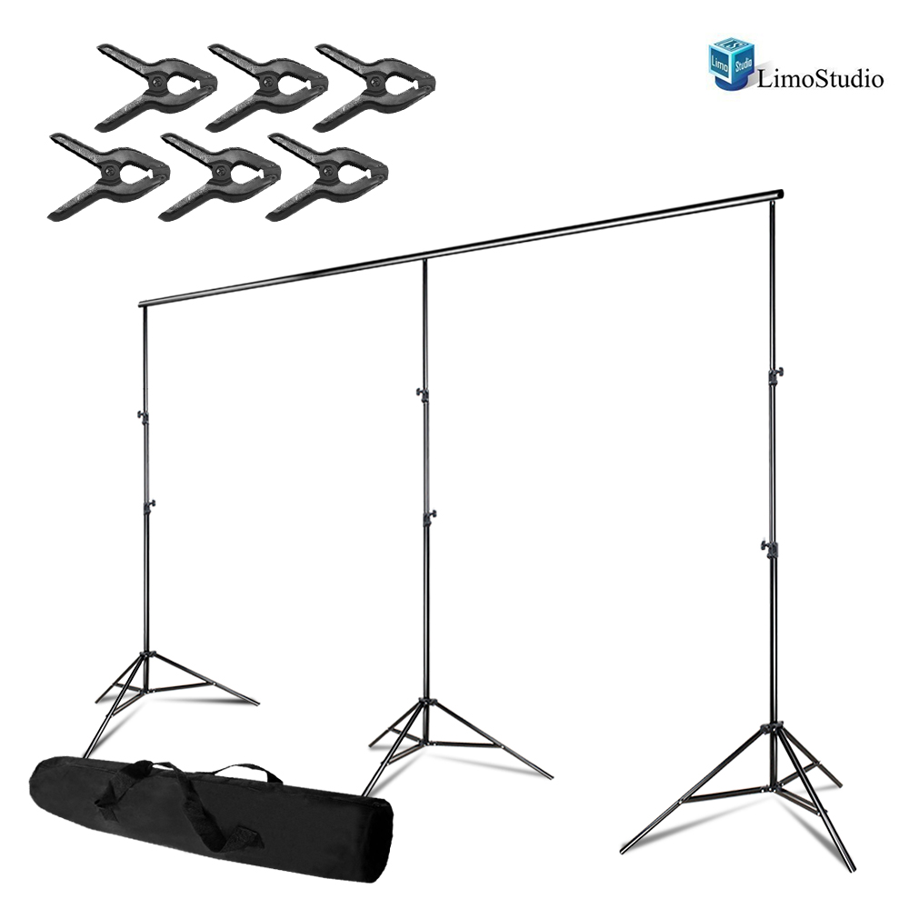 Loadstone Studio Photo Video Studio, Max 20 ft. Wide, Length Adjustable Photo Background Muslin Backdrop Support System with 3 Stands, Spring Support Clamp Photography Studio, WMLS4410