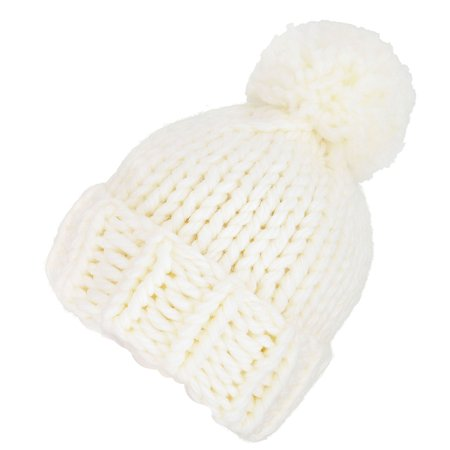 Womens Soft Warm Thick Hat Winter Cap Girls Cable Knit Beanie, White ()