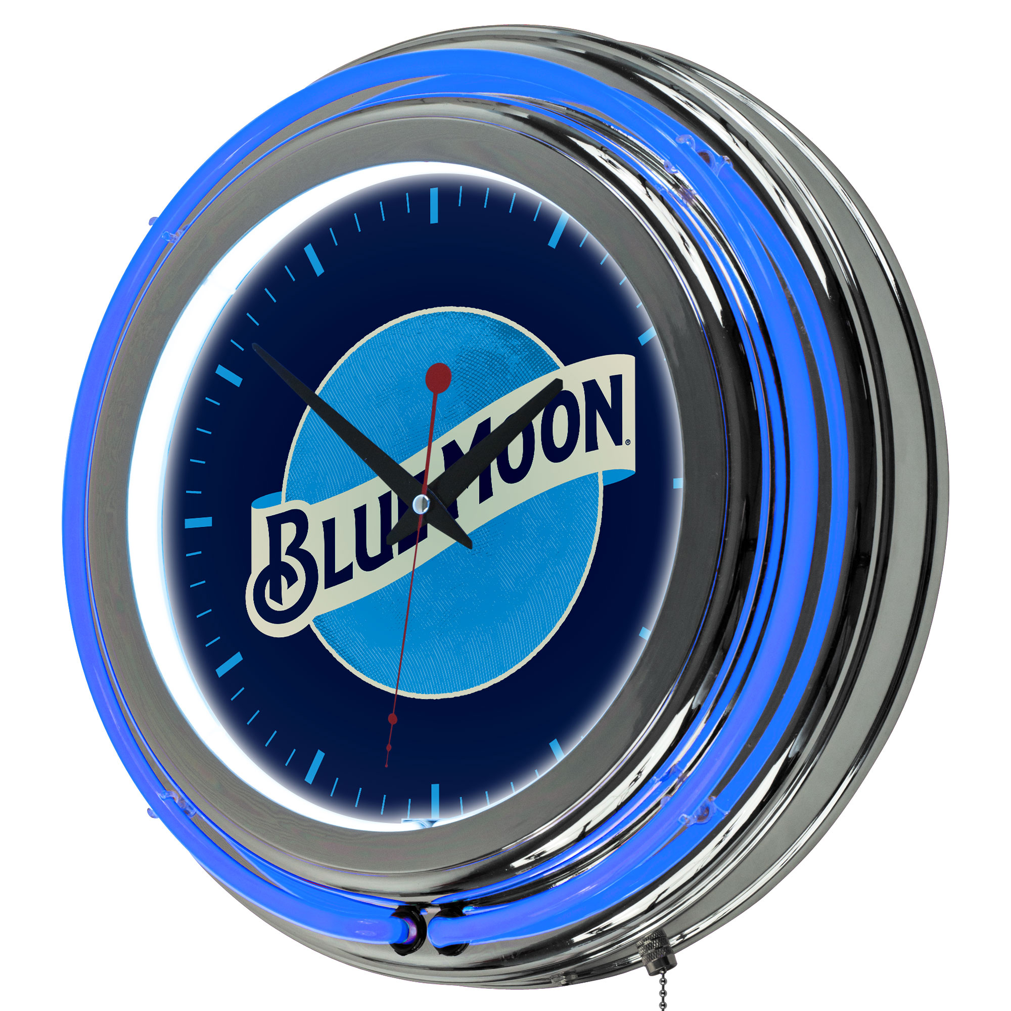 Image of Blue Moon Chrome Double Rung Neon Clock