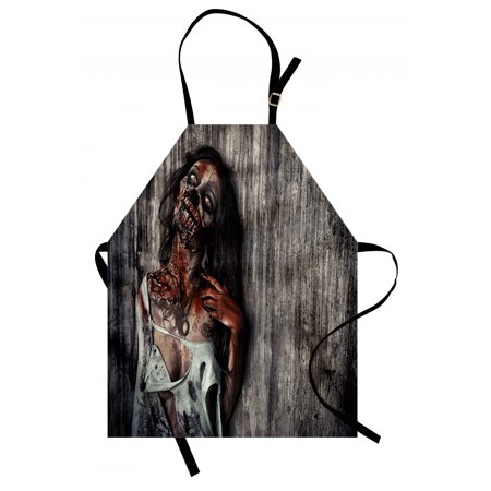 Zombie Apron Angry Dead Woman Sacrifice Fantasy Design Mystic Night Halloween Image, Unisex Kitchen Bib Apron with Adjustable Neck for Cooking Baking Gardening, Dark Taupe Peach Red, by Ambesonne