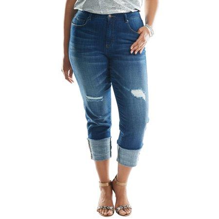 Roaman's Denim 24/7 Plus Size Cuffed Boyfriend Jeans