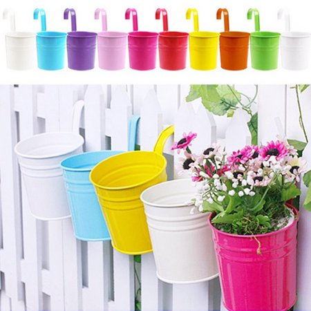 Flower Pots, 10 Pcs Metal Iron Hanging Flower Pots Balcony Garden Plant Planter, Wall Hanging Metal Bucket Flower Holders Home Decoration