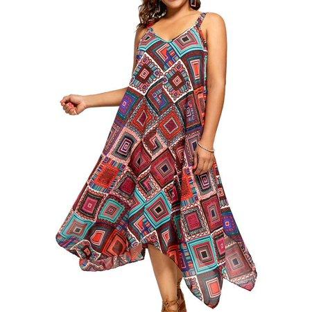 4bbd34c33f8a9 AKFashion - AKFashion Women s Plus Size Spaghetti Strap Sleeveless V Neck  Backless Irregular Floral Ethnic Dress - Walmart.com