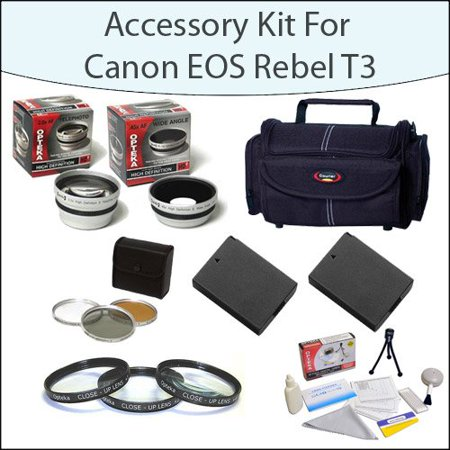 Accessory Package For Canon EOS Rebel T3 T5 With Gadget Bag, Filter and Close-Up Set, 2 High Capacity Canon Replacement LP-E10 LPE10, Opteka 2.2x Telephoto Lens, Opteka .45x Wide Angle Lens and More! 2 Amber Lens Set