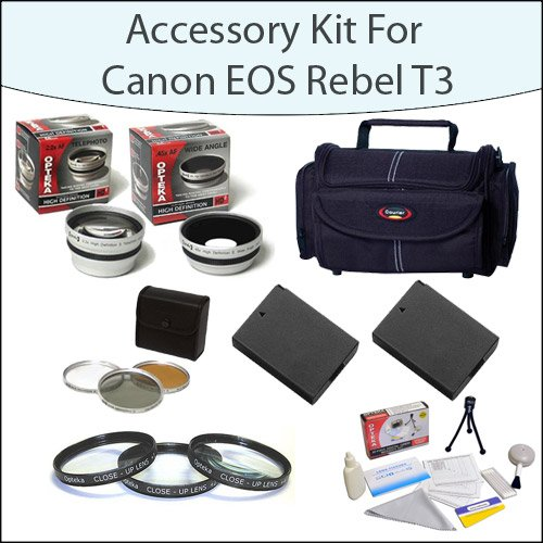 Accessory Package For Canon EOS Rebel T3 T5 With Gadget Bag, Filter and Close-Up Set, 2 High Capacity Canon Replacement LP-E10 LPE10, Opteka 2.2x Telephoto Lens, Opteka .45x Wide Angle Lens and More!