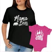 Texas Tees, Mothers Day Tshirts, Mom and Baby Matching Shirts, Pink Baby Cub & Mama Bear Shirt