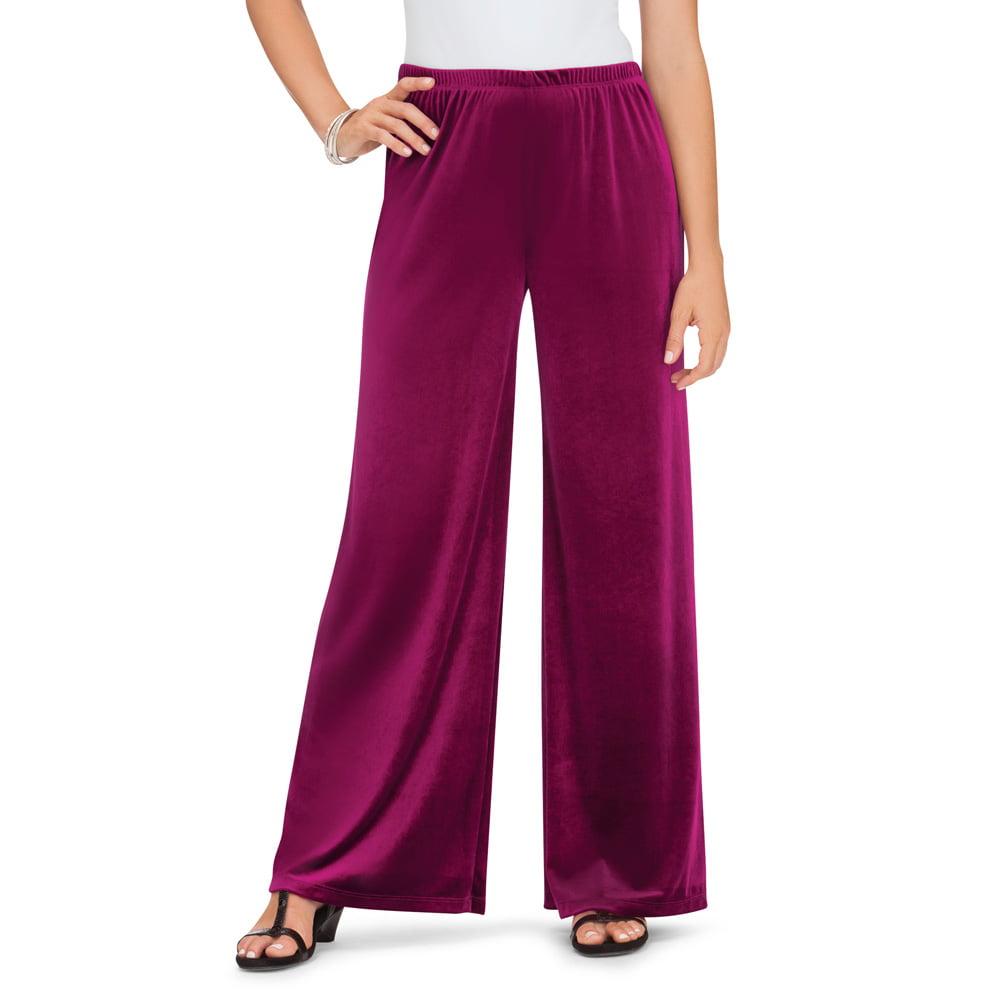 Collections Etc. - women's velvet wide leg elastic waist pants - bell  bottoms, medium, black - made in the usa - Walmart.com - Walmart.com
