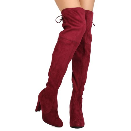 Red Thigh High Boots For Halloween (New Women Wild Diva Amaya-01 Faux Suede Thigh High Drawstring Chunky Heel)