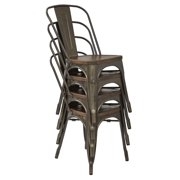 OSP Designs Indio Metal Chair with Vintage Ash Walnut Wood Seat and Matte Gunmetal Frame 4-Pack by Office Star