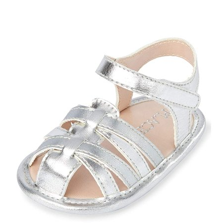 The Childrens Place Baby Girls Sandals, Silver, 3-6Months The Childrens Place Baby Girls Sandals, Silver, 3-6Months