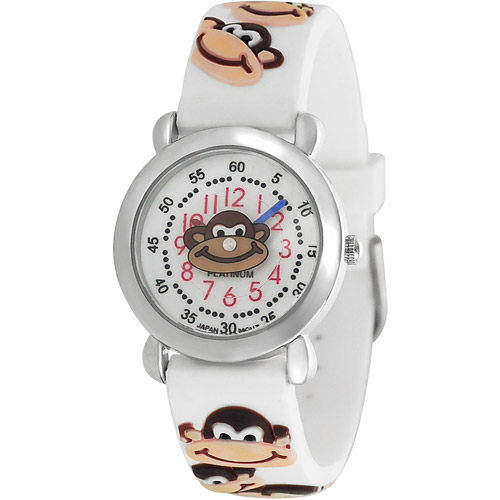 Brinley Co. Kids' Monkey Design Watch, Silicone Strap